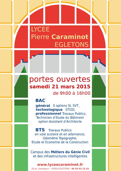 Affiche portes ouvertes 2015 - lycée P.Caraminot, Egletons